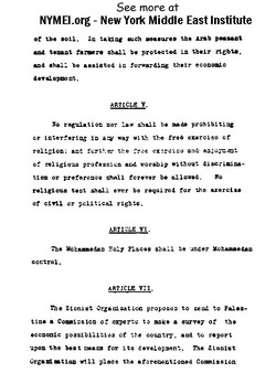 Arab-Jewish Treaty on Jewish Homeland in Palestine, page 3. Prepared by New York Middle East Institute - www.NYMEI.org