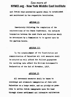 Arab-Jewish Treaty on Jewish Homeland in Palestine, page 2. Prepared by New York Middle East Institute - www.NYMEI.org